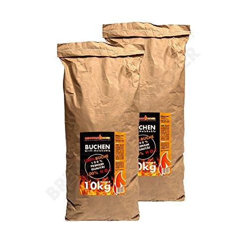 Holzkohle Buche für BBQ, Grillkohle groß, 20kg, Buchenholzkohle, Steakhouse Qualität, Premium, 2019 Ofen...