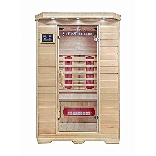 Home Deluxe – Infrarotkabine – Redsun M – Keramikstrahler – Holz: Hemlocktanne - Maße: 120 x 105 x...