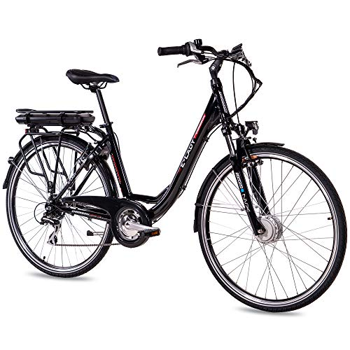 CHRISSON 28 Zoll E-Bike Trekking und City Bike für Damen - E-Lady schwarz mit 8 Gang Acera Kettenschaltung -...