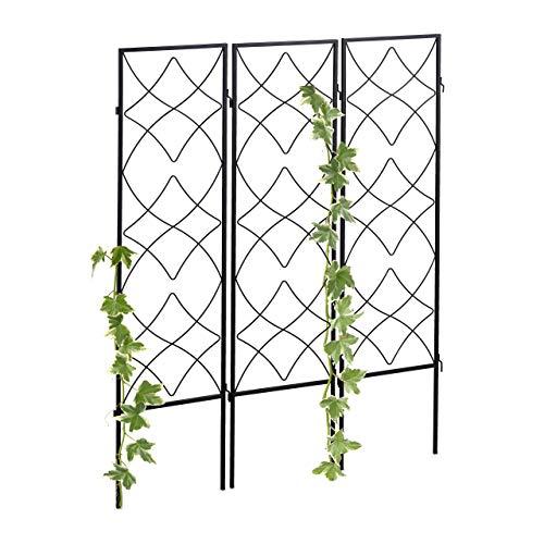 Relaxdays Rankgitter Metall, 3er Set, zum Stecken, Rankhilfe für Kletterpflanzen, 122 x 31 cm, Spalier...