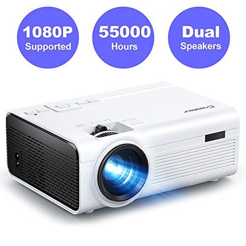 Crosstour Beamer, Mini Video Full HD Unterstützt Heimkino Projector LED Handy Tragbar Projektor Kompatibel...