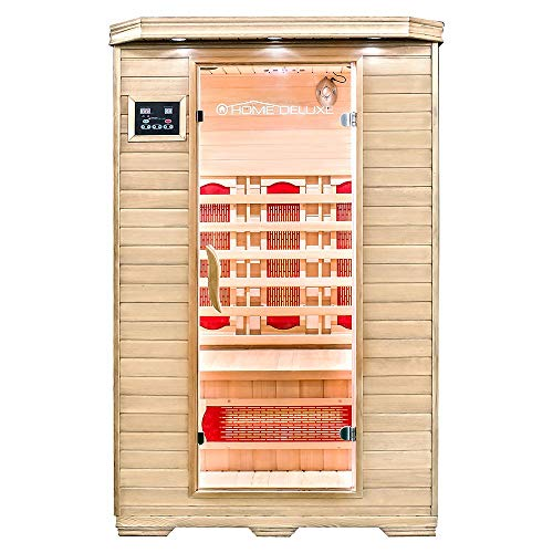 Home Deluxe – Infrarotkabine – Redsun M – Vollspektrumstrahler – Holz: Hemlocktanne - Maße: 120 x 105...
