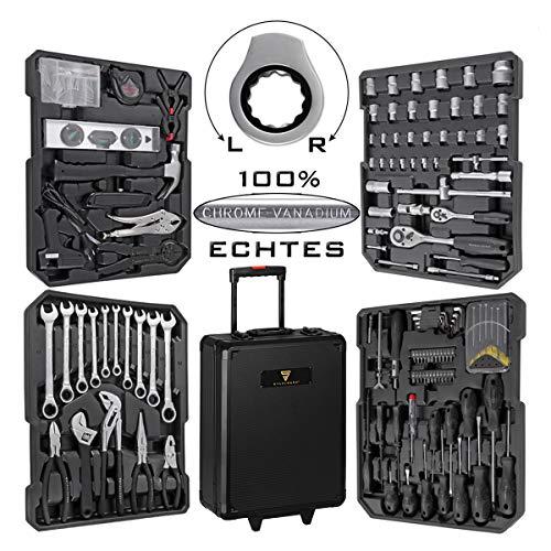 STAHLWERK Werkzeugkoffer WR-1 ST Werkzeugkasten Werkzeugtrolley Werkzeugkiste 186 Teile für Hobby DIY und...