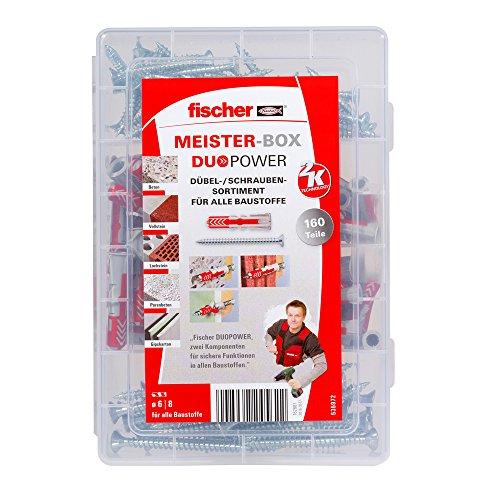 fischer MEISTER-BOX DUOPOWER + Schraube, Werkzeugkiste mit 160 Dübeln und Schrauben, Universaldübel,...
