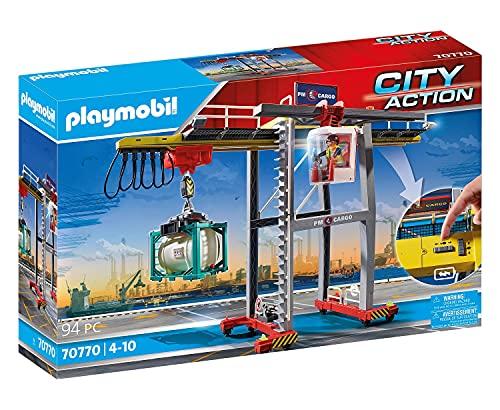 PLAYMOBIL City Action 70770 Portalkran inklusive Containern, Steuermodul und dreh- und verschiebbarer Kabine...