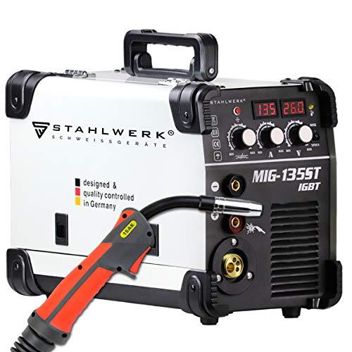 STAHLWERK MIG 135 ST IGBT - MIG MAG Schutzgas Schweißgerät mit 135 Ampere, FLUX Fülldraht geeignet, mit MMA...