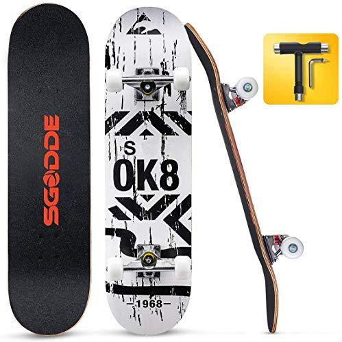 SGODDE Skateboard 31x8 Zoll Komplettboard 80x20cm Holzboard mit ABEC-7 Kugellager für Anfänger,7-lagigem...