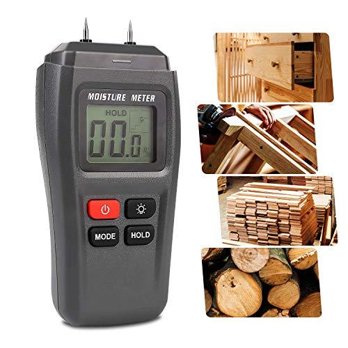 Feuchtigkeitsmessgerät, HOSPAOP Holz Feuchtemessgerät, Pin-Typ Feuchtigkeitsmesser mit HD-LCD...