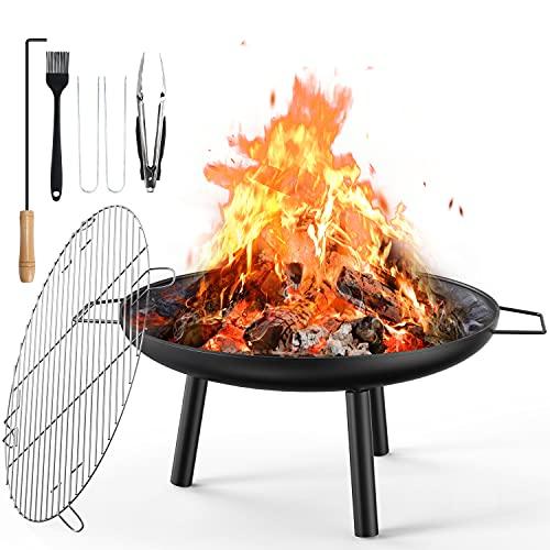 Aiglam Feuerschale, Feuerstelle 60cm Feuerschalen für den Garten mit Grillplatte Für Heizung/BBQ Holzofen...