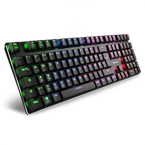 Sharkoon PureWriter RGB Mechanische Low Profile-Tastatur (RGB Beleuchtung, rote Schalter, flache Tasten,...