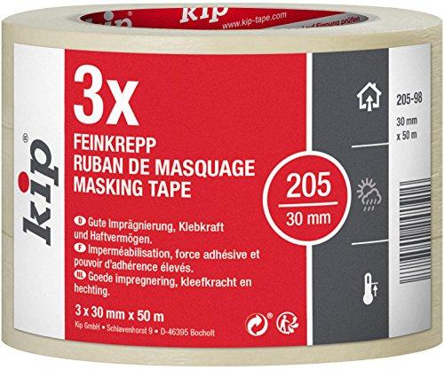 Kip Tape 205-98 Feinkrepp  Professionelles Malerkrepp  Imprgniertes Abdeckband zum Streichen & Lackieren  3...