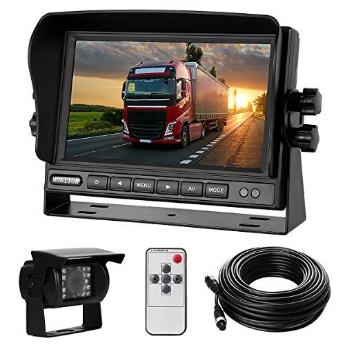 Rückfahrkamera-Set mit 7'-LCD-Monitor & 170° Weitwinkel- Rückfahrkamera, IP68 wasserdicht, 18IR Nachtsicht,...