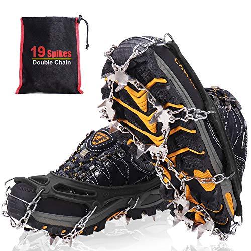 Steigeisen für Bergschuhe mit 19 Edelstahl Spikes, Grödel und Spikes für Klettern Bergsteigen Trekking High...