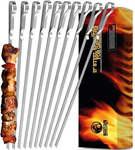 Mountain Grillers - Grillspieße, Schaschlikspieße aus Edelstahl (x 10 Stück) - Lange Spieße für Fleisch,...