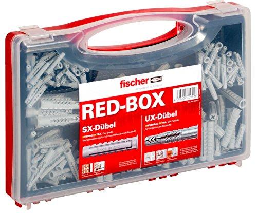 fischer RED-BOX UX / SX, Dübelbox mit 160 Universaldübeln UX & 130 Spreizdübeln SX, vorsortiertes...