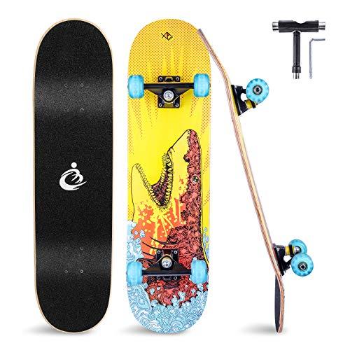 Skateboard 31x8 Zoll Komplette Cruiser Skateboard für Kinder Jugendliche Erwachsene, 8-Lagiger Chinesischer...