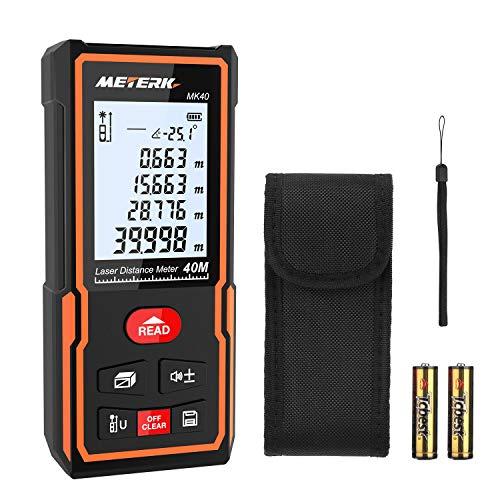 Laser Entfernungsmesser, Meterk Distanzmessgerät Messbereich: 0,05-40m Genauigkeit:±2 mm mit M/In/Ft...