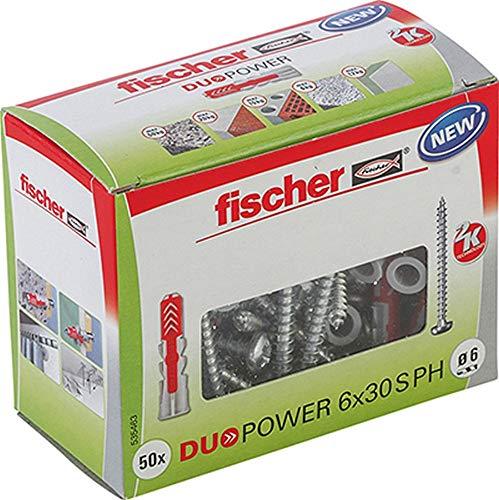 fischer DUOPOWER 6 x 30 S PH, Universaldübel mit Panheadschraube, 2-Komponenten-Dübel, Kunststoffdübel zur...