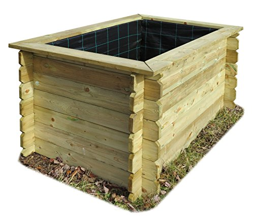 Gartenpirat Hochbeet 150x100 Holz 26 mm stark imprägniert 80 cm hoch mit Folie