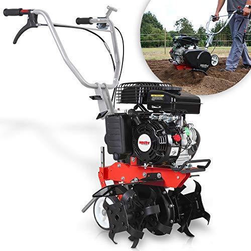 HECHT Benzin Gartenhacke – 43 cm Arbeitsbreite – 2-Takt Motor – 24 Messer – Motorhacke – Bodenfräse...