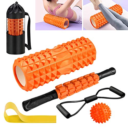 Faszienrolle, Qveetry Foam Roller Faszienrolle Sets mit Massageroller Stab, Widerstandsbänder Krafttraining,...