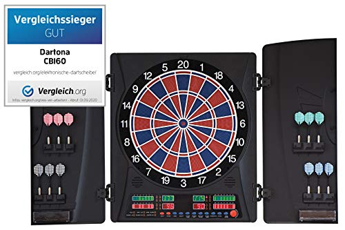 Dartona Elektronische Dartscheibe CB160 Cabinett | Dartscheibe elektronisch | Turnierscheibe mit 33 Spielen...