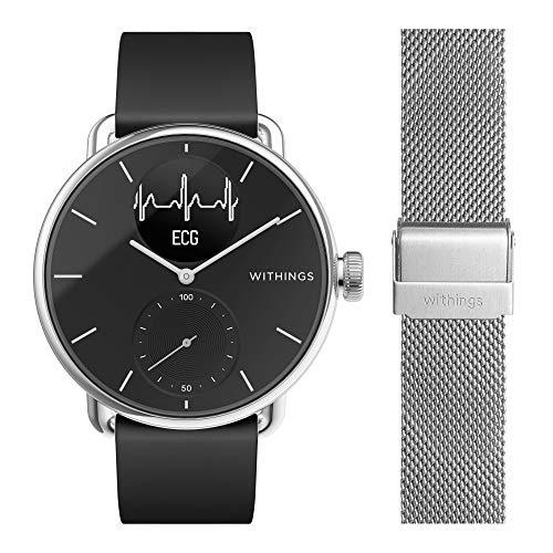 Withings ScanWatch mit Zusatzarmband im Bundle - Hybrid Smartwatch mit EKG, Herzfrequenzsensor und Oximeter,...
