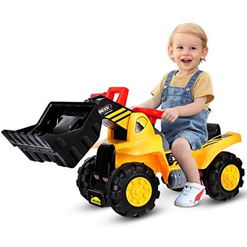 COSTWAY Sitzbagger mit eingebautem Ablagefach, Kinderbagger mit 4 Sound-Tasten, Bagger Spielzeug, Sandbagger,...