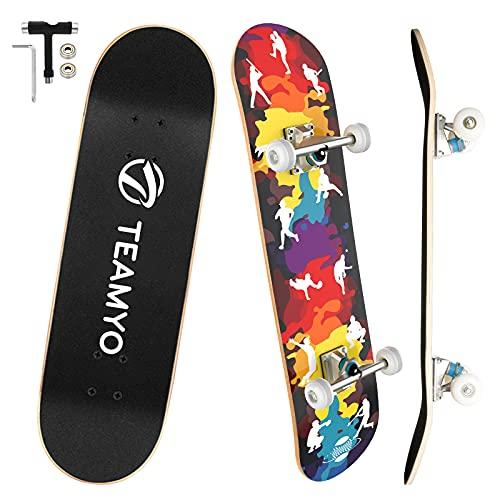 Skateboard Komplettboard, 80 x 20 cm Skate Boards für Anfänger mit ABEC-11 Kugellager, 9-lagigem Ahornholz...