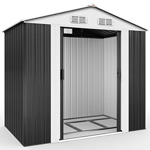 Deuba XL Metall Gerätehaus 2,4m² mit Fundament 210x132x186cm Schiebetür Anthrazit Geräteschuppen...