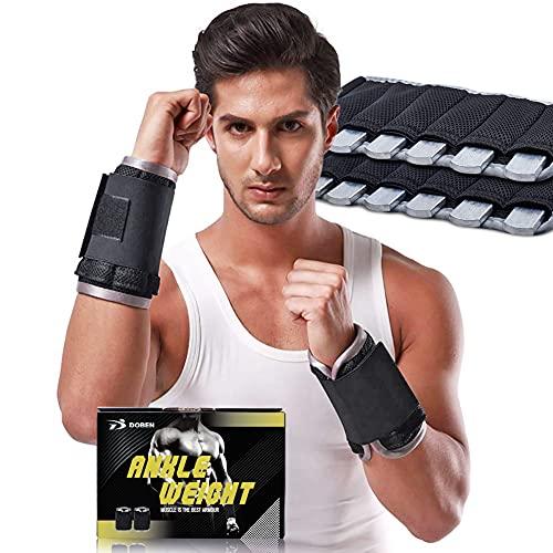 DOBEN Handgewichte zum Joggen 3kg, Gewichtsmanschetten Stahl - Knöchelgewichte für Hand- &...