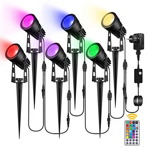 RGB Gartenbeleuchtung, GREEMPIRE 6er Set RGB Gartenstrahler LED mit Erdspieß Gartenleuchte,Außenleuchte mit...