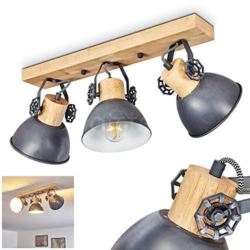 Deckenleuchte Orny, Deckenlampe aus Metall/Holz in Grau/Weiß/Braun, 3-flammig, mit verstellbaren Strahlern, 3...