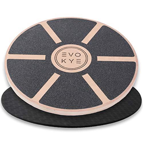 EVO KYE Balance Board (rund) mit Anti-Rutsch-Unterlage - Balancegerät aus stabilem, hochwertigen Holz -...