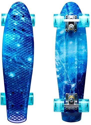 LISOPO Mini Cruiser Penny Skateboard 57cm mit Stabilem Deck und 4 Transparenten PU-Rollen für Kinder...