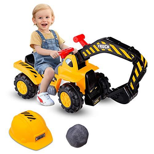 COSTWAY Sitzbagger mit eingebautem Ablagefach, Kinderbagger mit Horn, Bagger Spielzeug, Sandbagger, Rutscher...