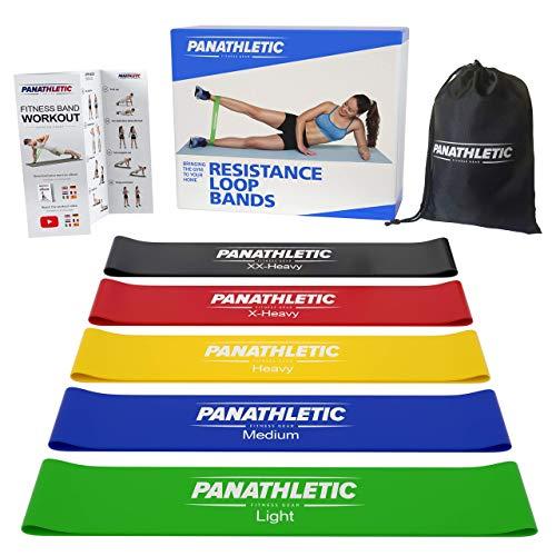 Panathletic Fitnessbänder/Widerstandsbänder, 5er Set, mit Anleitung, eBook auf Deutsch und Tragebeutel –...