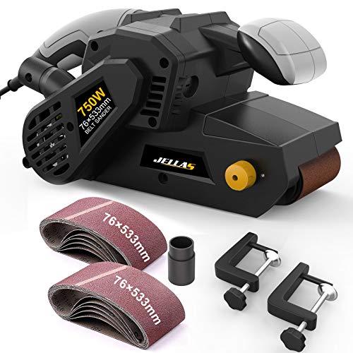 JELLAS Bandschleifer 76 mm × 533 mm mit 10-teiligen Schleifbändern und Staubbeutel, Tischschleifer mit...