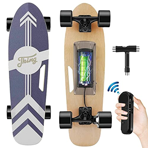Tooluck Elektrisches Skateboard mit kabelloser Fernbedienung, 20 km/h Höchstgeschwindigkeit, 350 W Motor, 8...