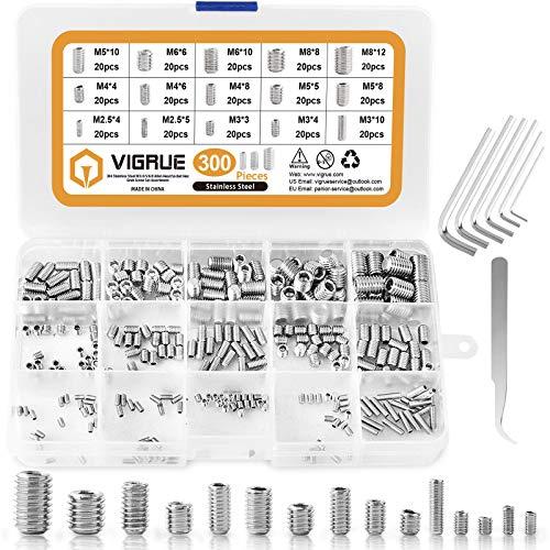 VIGRUE 300 Stück Madenschrauben Set, M2.5 M3 M4 M5 M6 M8 Innensechskant Gewindestifte mit Schraubenschlüssel