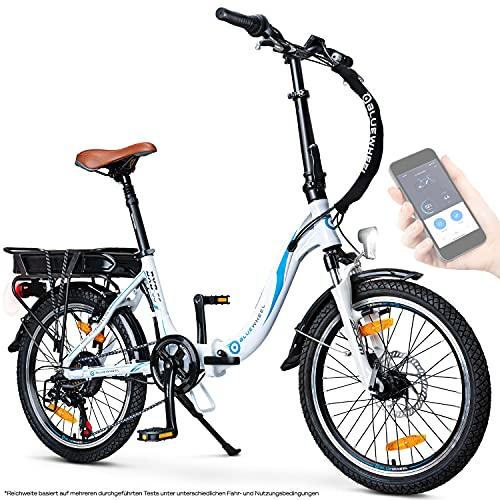 BLUEWHEEL 20' klappbares E-Bike I Deutsche Qualitätsmarke I Shimano 7 Gang-Schaltung I EU-konform Klapprad...