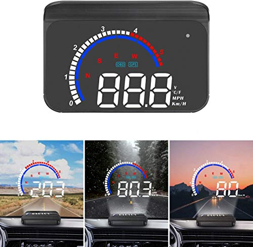 Head up Display Universelles digitales Auto HUD Display OBD2 / GPS-Dual-System, Auto Tachometer MPH,...