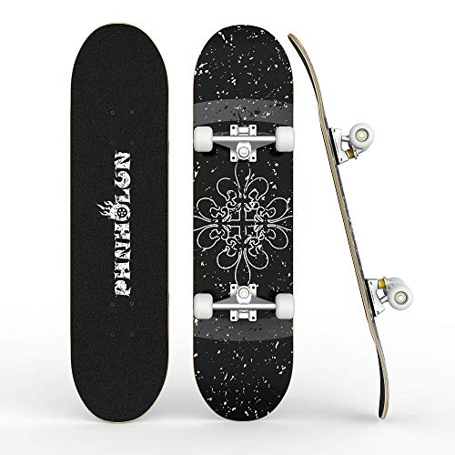 PHNHOLUN Skateboards for Beginners, 31 x 8 Inch Complete Skateboard with ABEC-7 Bearings and 95A Wheel, 8...