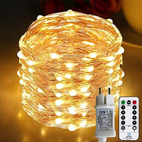 [220 LED] Lichterkette, 25M 8 Modi lichterkette außen strom lichterketten wasserdicht außen/innen Kupfer...