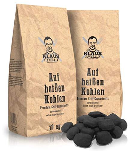 Klaus grillt auf heißen Kohlen Cocos Grillketts Premium Grillbriketts aus Kokos-Kohle - 20kg - extra Lange...
