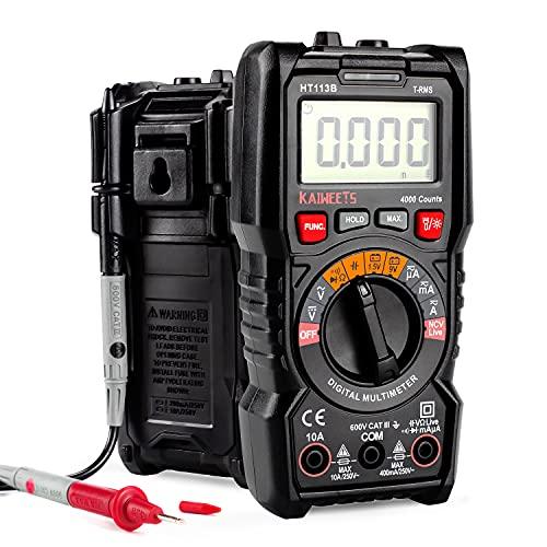 Digital Multimeter, KAIWEETS Strommessgerät Auto Ranging True RMS 4000 Counts, Messung von AC/DC Spannung,...