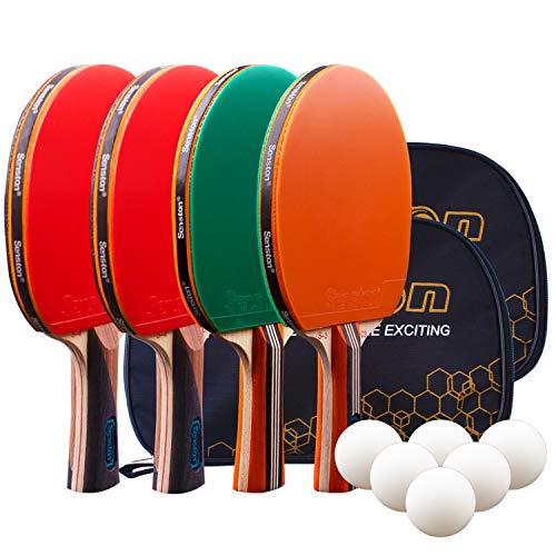 Senston Tischtennis Set, 4 Tischtennisschläger, 6 Tischtennis-Bälle Tasche Ideal für Anfänger, Familien...