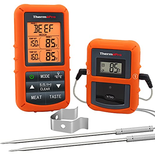 ThermoPro TP20 Digital Funk Bratenthermometer Grillthermometer Ofenthermometer Thermometer Wireless mit 2...