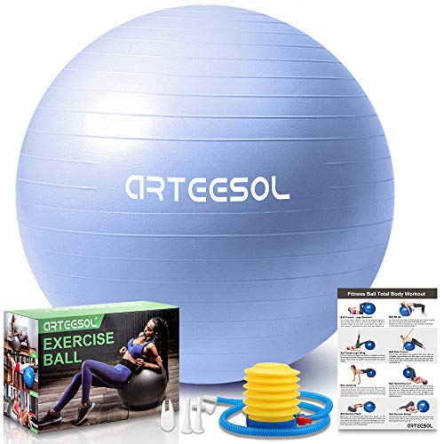 arteesol Gymnastikball, Balance Ball 45cm/55cm/65cm/75cm Yoga Ball mit Pumpe Anti-Burst Fitness Balance Ball...