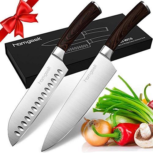 homgeek Kochmesser Küchenmesser, 2-teilig Profi Messer Set, Extra Scharfe Santokumesser und Chefmesser Set,...